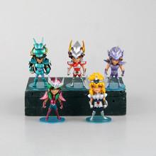 5PCS/Set 10cm Mini PVC Action Anime Figures Saint Seiya Myth Cloth Shiryu Shun Hyoga Jabu Seiya Dolls Model Toys For Children