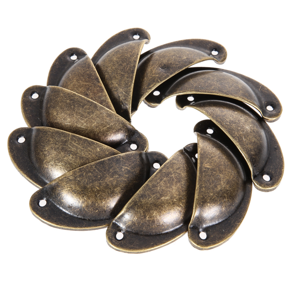10pcs Antique Shell Pull Handle Retro Metal Kitchen Drawer Cabinet Door Handle Antique Brass Cupboard Knob Furniture Shell(China (Mainland))