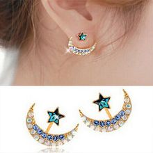 2015 Fashion New Arrival Women Rhinestone Moon Star Earrings Pentacle Pendant Stud Earrings Female E195(China (Mainland))