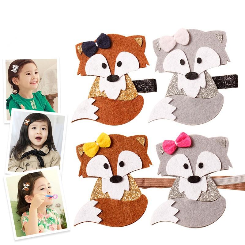 AHO161(20), Trendy Baby Glitter Felt Fox Hairpin Cute Bow Woodland Fall Cartoon Animal Hair Clip Brown Grey Barrette Headband(China (Mainland))