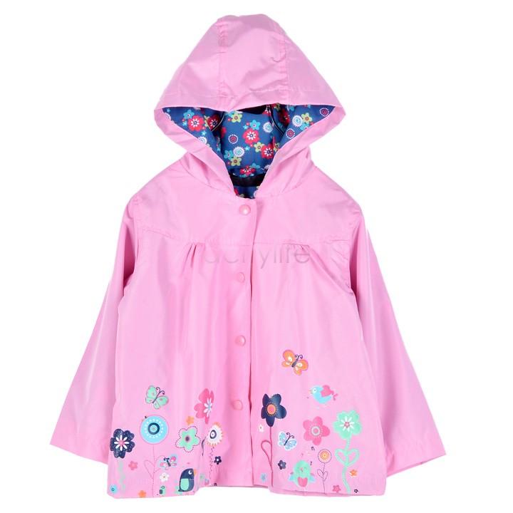 Funny Children's Raincoat Flowers Hooded Girl Cloak Waterproof Rainwear Long Sleeve 90-130CM 66(China (Mainland))
