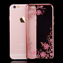Buy Luxury Flora Diamond Silicone Case iPhone 7 6 6S iPhone 7 6 6S Plus Chic Flower Bling Soft TPU Clear Phone Back Cover for $1.20 in AliExpress store