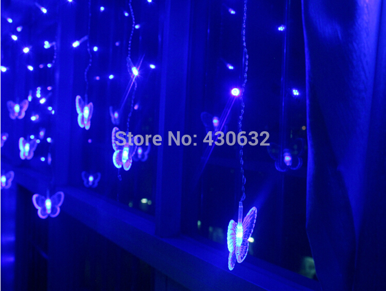 2m(L) 0.6m(W) waterproof Butterfly LED Strip/ Festival Holiday Lights 220v Fairy Wedding Decoration Lamp(China (Mainland))