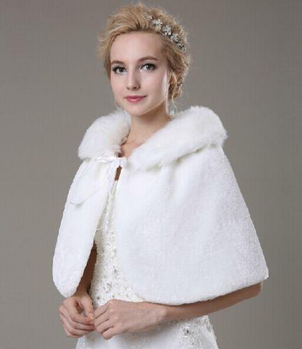 Classic off white ivory faux fur shrug bridal wedding for Fur shrug for wedding dress