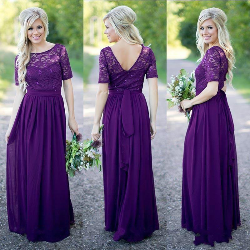 Elegant Purple Lace Long Bridesmaid Dresses 2016 robe demoiselle d'honneur Chiffon Half Sleeve Wedding Formal Dress(China (Mainland))