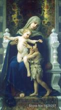 Canvas Paintings for living room The Virgin Jesus and Saint John Baptist William Adolphe Bouguereau High quality Hand painted(China (Mainland))