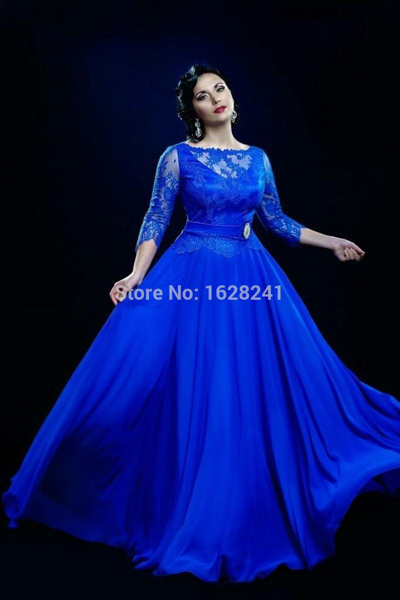 2016 Mother of the Bride Illusion Neck Chiffon Lace Prom Dresses custom Formal party Dresses Blue 3/4 Long Sleeves Evening gown(China (Mainland))