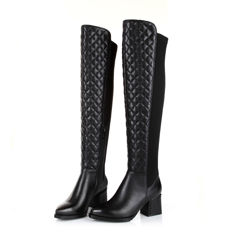 Creative  TAYLOR BLACK ITALIAN LEATHER KNEE HIGH BOOTS Womens Shoes Size 75