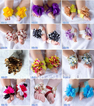 10 pairs/lot Top Baby Flower Footwear,Foot Accessories,Barefoot Sandals NEW DESIGNS