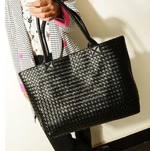 Hot Selling Women PU Leather Handbag Tote Shoulder Bags Large Capacity PU Weave Bags Fashion Design Free Shipping Wholesale(China (Mainland))