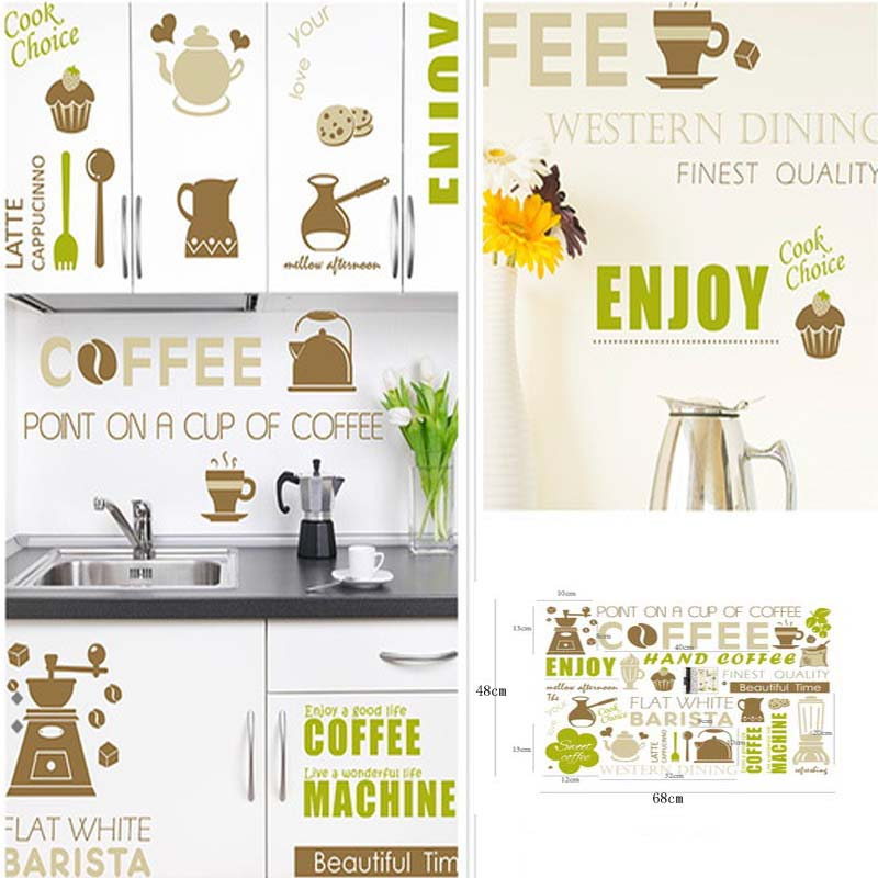 Point on a cup of Coffee Foods Element English Words Home Decor DIY Wall Sticker Removable Home Decor For Kitchen Cafe Room(China (Mainland))