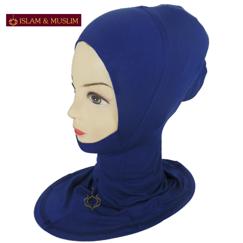 FREE SHIPPING wholesale muslim hijab mini ninja wrap islamic inner easy neck instant latest design turban modal blue underscarf(China (Mainland))