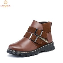 2015 Winter Children Genuine Leather Boots Brand Boys & Girls Cotton Buckle Shoes Fashion Ankle Martin Boots for Kids,RJ249(China (Mainland))