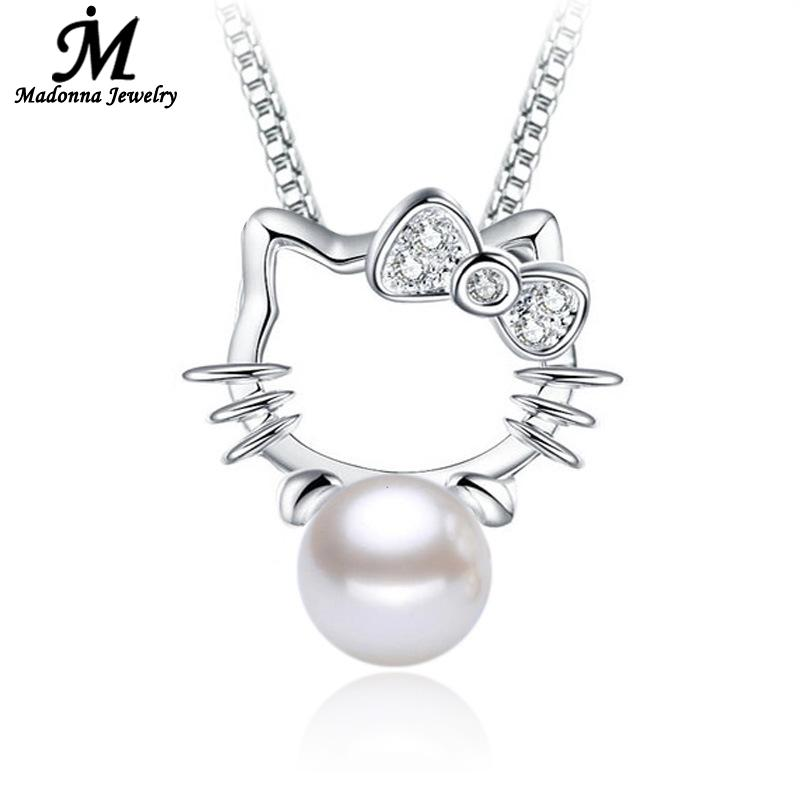 2016 New Fashion Women CZ Diamond Crystal Pendant Cute Hello Kitty Imitation Pearl Pendants Silver Plated Jewelry(China (Mainland))