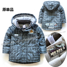 Free shipping Retail new 2013 children clothing winter jacket baby outerwear boys coat thicken overcoat kids warm plaid coat