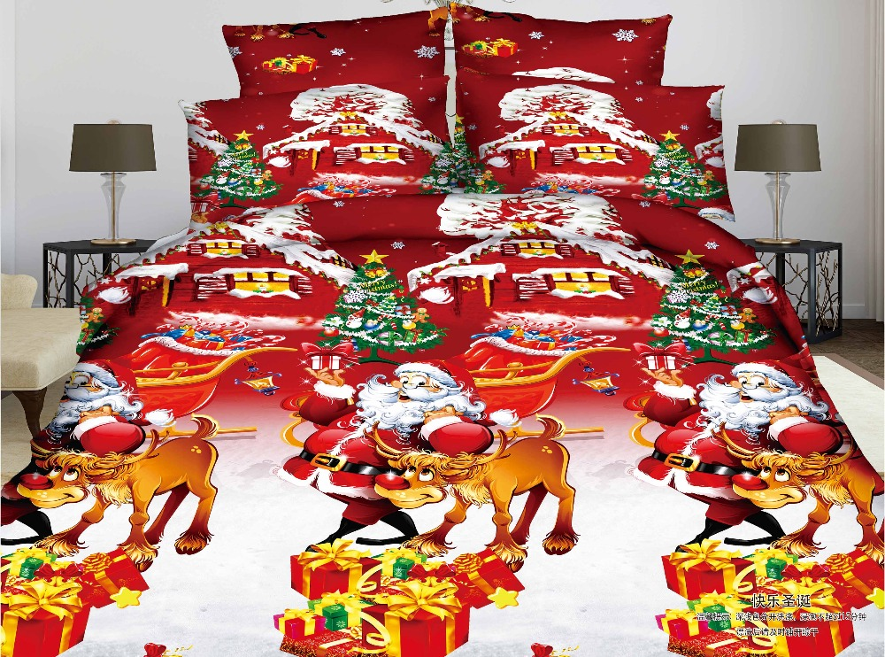 US Local Delivery chirstmas bedding sets kids the new year bed sheet fitted sheet pillow case kids cartoon bedding twin full(China (Mainland))