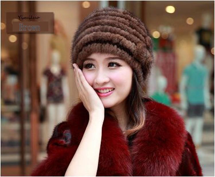 Скидки на Импорт норки шляпа дамы вязаная теплая осень и зима высокого класса кожа дамы меховая шапка