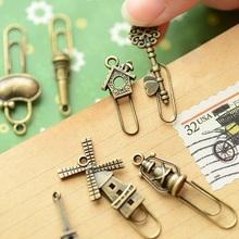 4 Pcs/Lot(2 Bags)  Retail Zakka Creative Vintage Iron Bookmarks Vintage Metal Bronze Color Clip bookmark free shipping 630(China (Mainland))