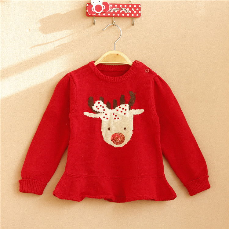 Free Shipping 6 Pieces/lot New 1-5Y Girl Red Deer Christmas Pattern Long Sleeved Pullover Cotton Wool Sweater Dress<br><br>Aliexpress