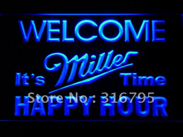 646-b Welcome Miller Time Happy Hour Bar LED Neon Sign Wholesale Dropshipping On/ Off Switch 7 colors DHL(China (Mainland))
