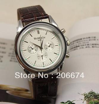 New Men's watch 9285 Separate Design Leather Band Men's Electronic Quartz Wrist Watch (Black.brown)watches free shipping