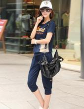 Free shipping,2014 New Fashion female summer short-sleeve sportswear set, womens summer sports set plus size 3XL 4XL ,B1706(China (Mainland))