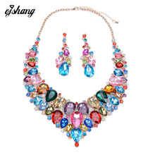 Jewelry Sets Crystal Necklace Earring Blue Red Gem Choker Bijoux Costume ZA Large Fashion Necklaces Pendants Maxi Women 2016 - Y/T store