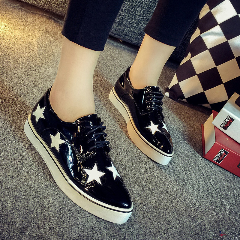 Womens Patchwork Star Lace-up Flats Silver Oxfords High Quality Designer Platform Brogues Shoes Women Casual Female Footwear<br><br>Aliexpress