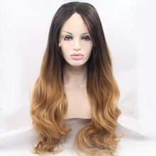 Wingwig Brazilian hair heat resistant Synthetic Wigs big curly black to blond ombre lace front wig for black women