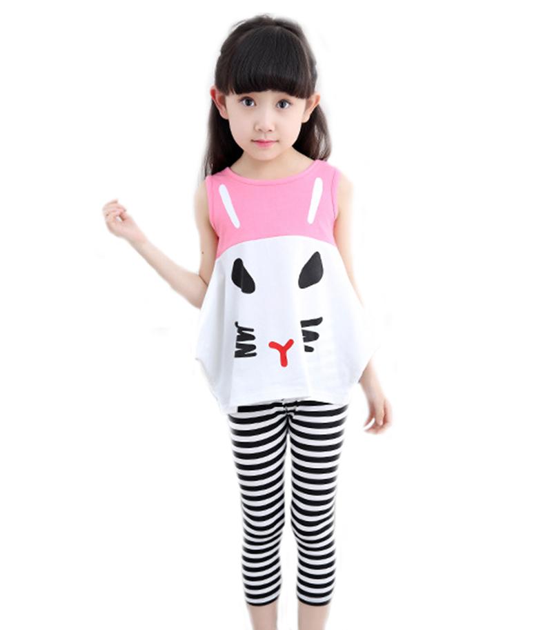 2016 Summer Girl Kids Cat Shirt Vest font b Plaid b font Ankle length Skinny Pants