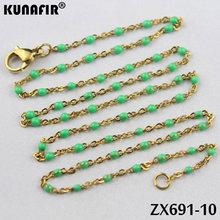 الذهبي اللون 1.5 مللي متر عبر سلسلة مع الألوان الراتنج قلادة من الفولاذ المقاوم للصدأ المرأة مجوهرات الأزياء 10 قطعة-100 قطعة ZX691DG(China)
