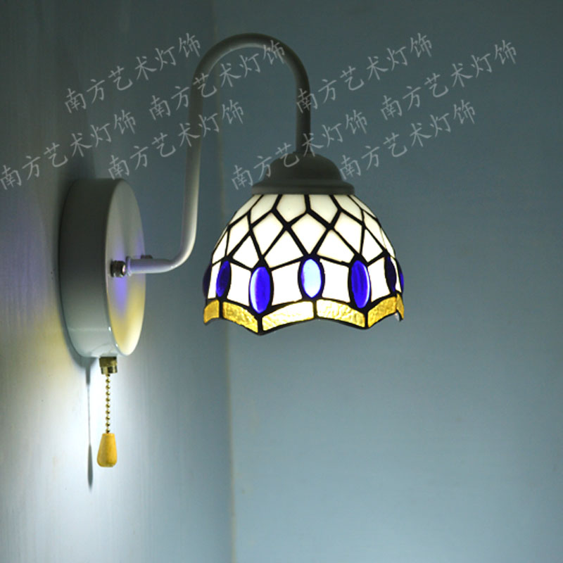 Southern Mediterranean blue beads, glass lamp tiffaoiy wall lamp bedside lamp aisle lights front ...