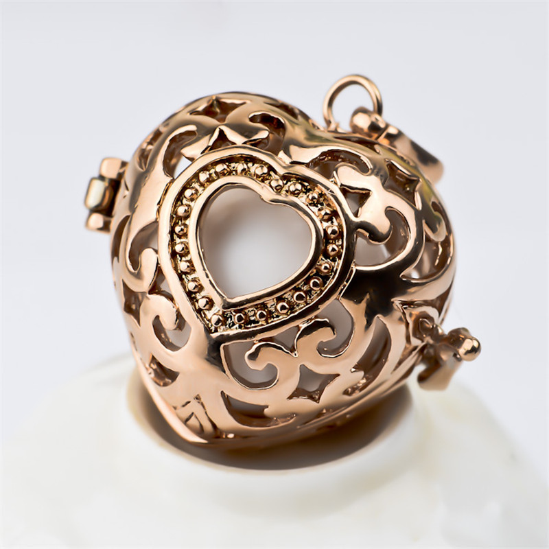 H58-20 Rose Gold Plated Heart Locket Pendant Including Colorful Harmony Ball Angel Caller 20*18mm Floating Charm - Elegant Jewelry Co.,Ltd store