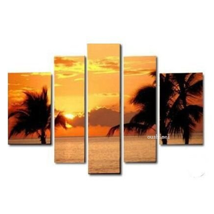 100% Hand Painted Landscape Group Of Sunrise Oil Painting On Canvas 5p Modern Seascape Paintings For Living Room Decor Craft