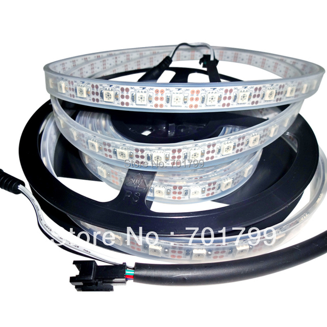 4m DC5V INK1003 led pixel strip,IP68,60pcs 1002led(5050 RGB with built-in INK1003 IC)/M with 60pixels;white PCB, in silicon tube