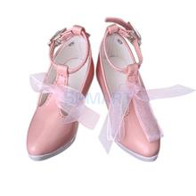 New 2014 Brand New Pink 1/3 BJD Doll High Heels PU Leather Shoes w/ Bow Fit SD DOD LUTS Free Shipping(China (Mainland))