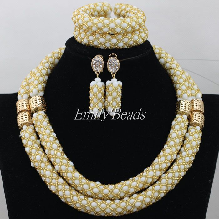 Handmade African Party Beads Jewelry Sets Nigerian Beaded Wedding Indian Bridal Necklace Jewelry Sets Gift Free Shipping AIJ470<br><br>Aliexpress