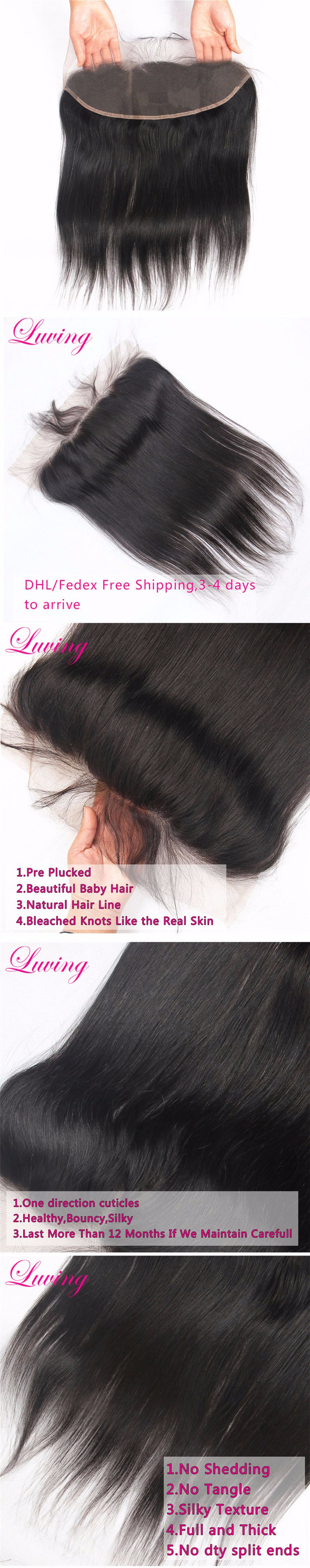 Peruvian Silky Straight Hair 13*4 Lace Frontal Closure With Baby Hair Natural Hairline Bleached Knots Free Middle 3 Part