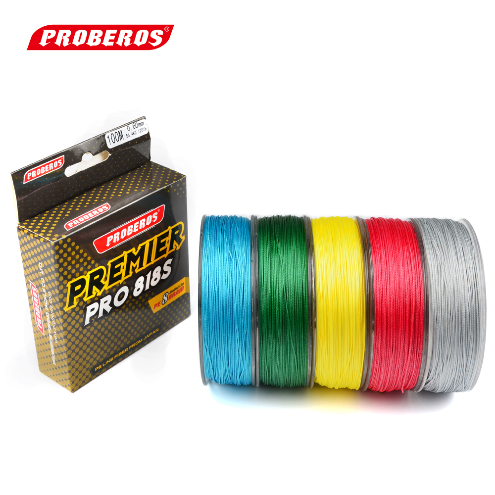 100M PE Fishing Line Red/Green/Grey/Yellow/Blue 8 stands 8 Weaves Braided Fishing Line 120LB PE Line Yellow Package(China (Mainland))