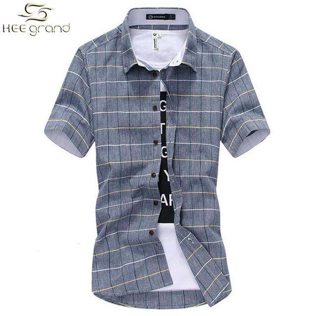 Мужская рубашка с коротким рукавом 2016 новое поступление мода тонкий грид-Стиль ...