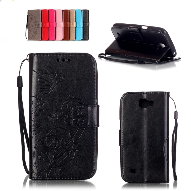 "LG K4 Case PU Leather Case LG K4 Lte K120e K130e 4.5"" K 4 Flip Protective Phone Shell Back Cover Embossed card Slo"