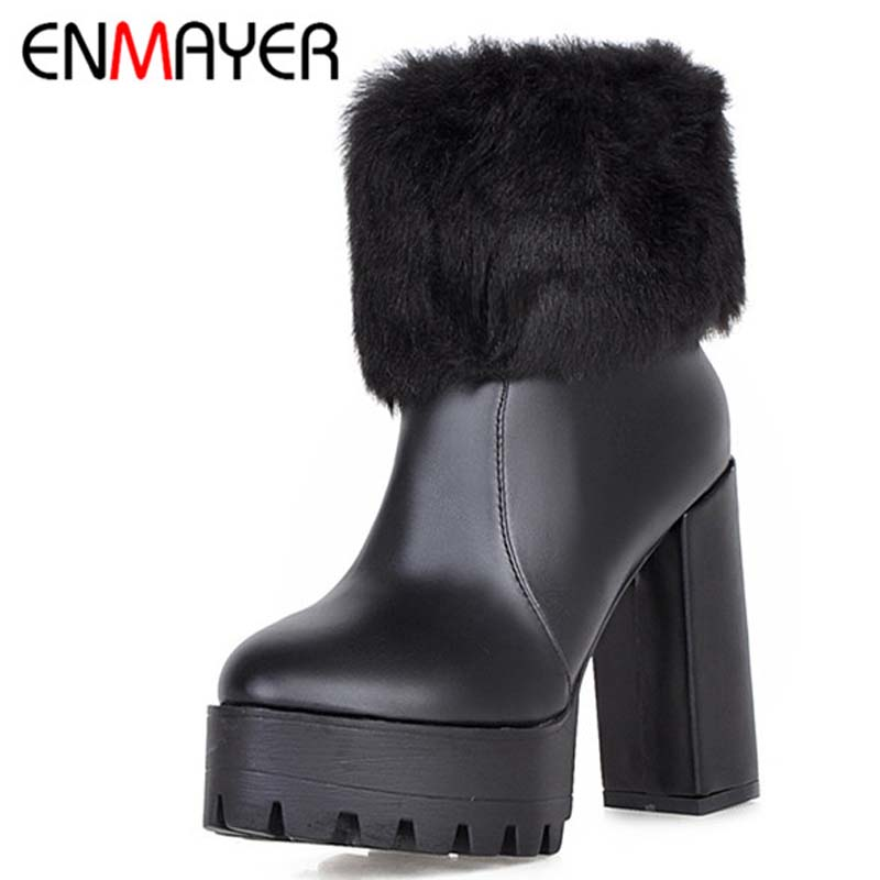 ENMAYER  Size 34-39 Advanced PU Leather Ankle Round Toe Zip  Square High Heel  Boots For Women 3-color New Fashion Boots<br><br>Aliexpress