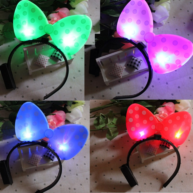 LED Light Up Flashing Polka Dot Head Bands Hen Party Wedding Prom Headband Hair Accessories Daily Wear for Woman Girls(China (Mainland))