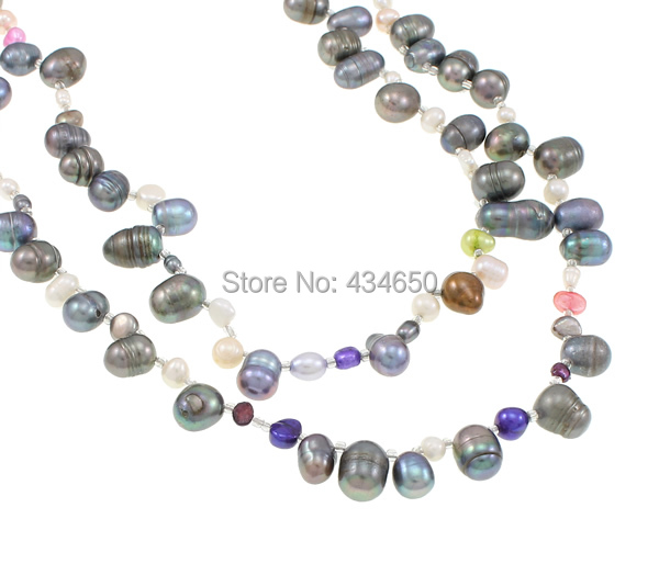 Free shipping!!!Natural Freshwater Pearl Necklace,Jewelry Accessories, 2-strand, 4-13mm, Length:Approx 59.5 Inch, Sold By Strand(China (Mainland))