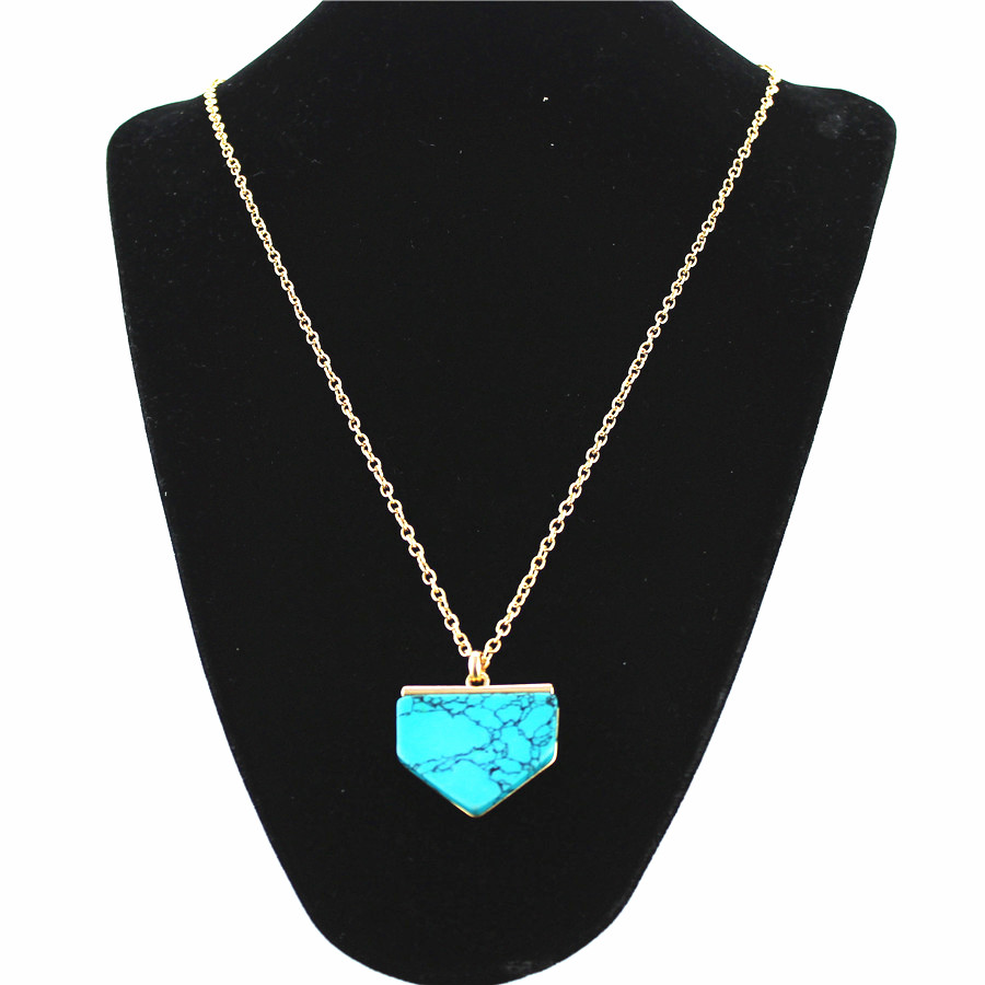 Fashion Women Pendant necklace Geometric Angle turquoise White stone Zinc Alloy Gold Plated Sweater Chain Long chain necklace(China (Mainland))
