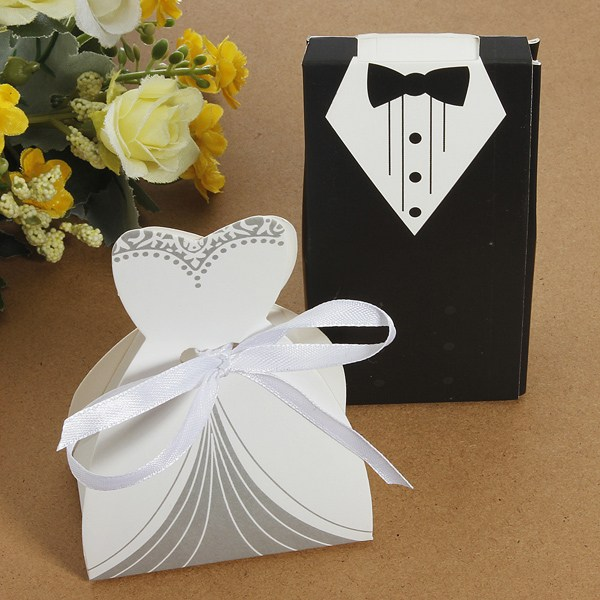 100pcs/Lot Party Favor Gift Tuxedo Dress Groom Bridal Wedding Candy Boxes Black And White(China (Mainland))