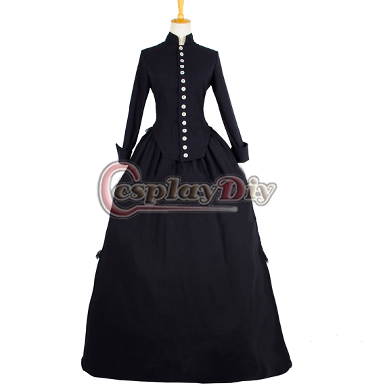 Free Shipping Long Sleeve ROCOCO Ball Grown Gothic Medieval Victorian Dark Black Elegant Dress Costume With White ButtonОдежда и ак�е��уары<br><br><br>Aliexpress