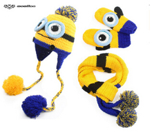2015 new Korean version of the autumn and winter days warm wool hat scarf gloves yellow people Despicable Me three-piece a285(China (Mainland))