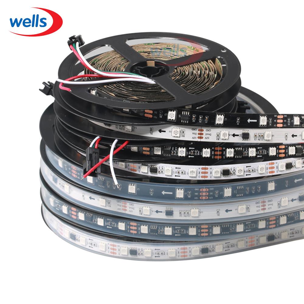 WS2811 led strip 5m 30/48/60 leds/m,10/16/20 pcs ws2811 ic/meter,DC12V White/Black PCB, 2811 led strip Addressable Digital(China (Mainland))
