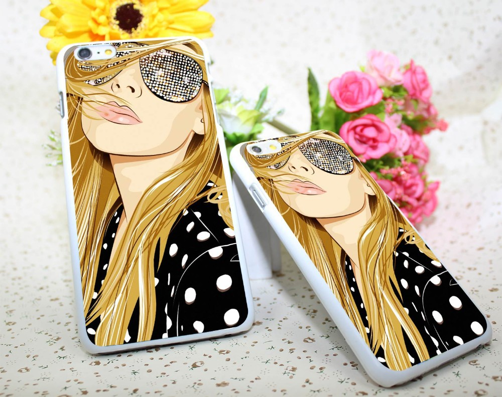 Women vector sunglasses White Hard Case Cover for iPhone 6 6s plus 5 5s 4 s White Skin Print Series